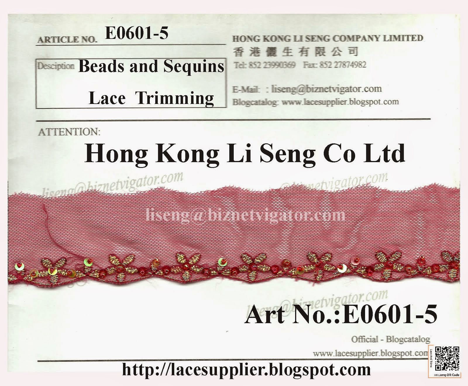 Beads and Sequins Lace Trims Factory - Hong Kong Li Seng Co Ltd