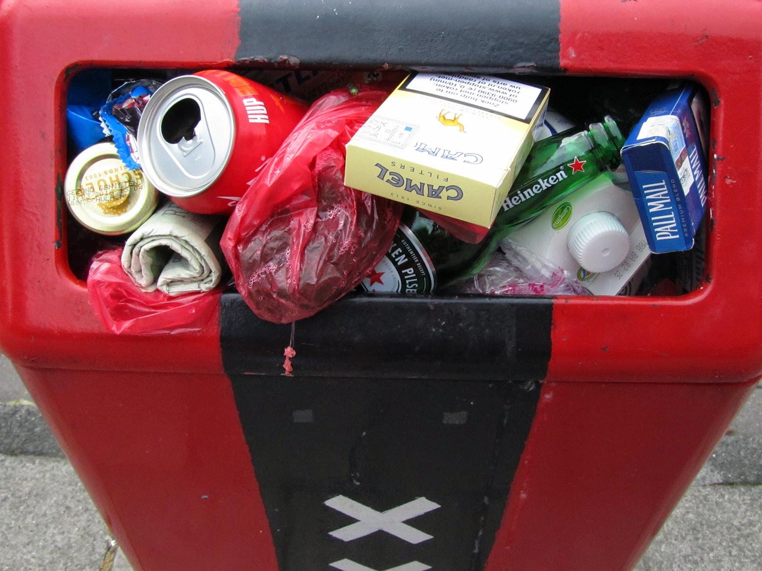 red waste basket