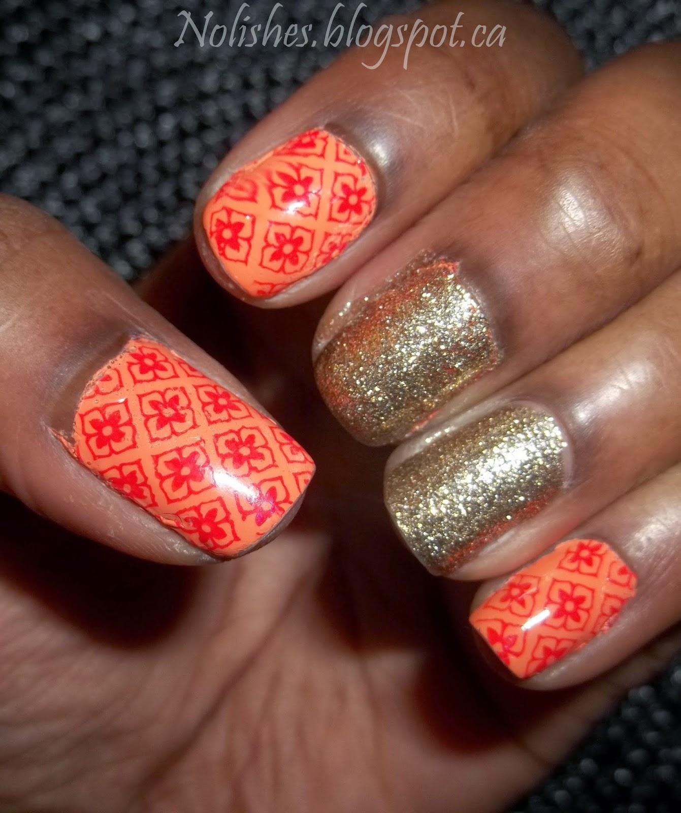 Orange gold nail art : Orange and gold nail stamping manicure using moyou london artist