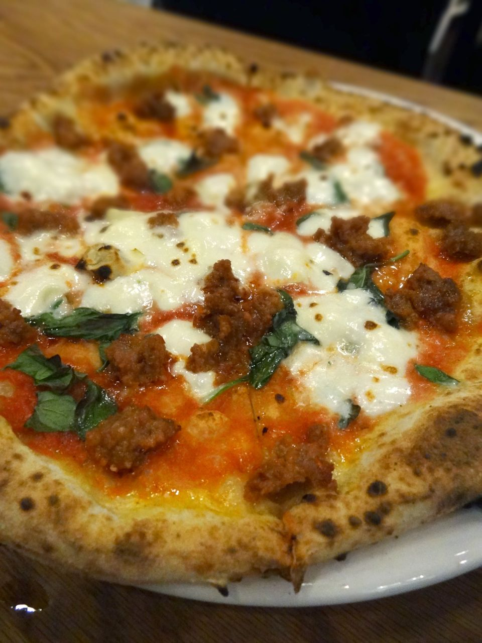 Pizza Nduja with spicy sausage, tomato, garlic, oregano, basil ...