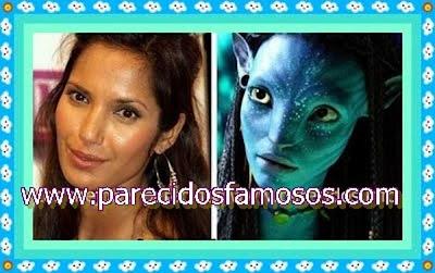 Padma Lakshmi y Neytiri de la película Avatar