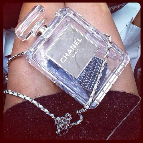 chanel perfume bottle clutch bag