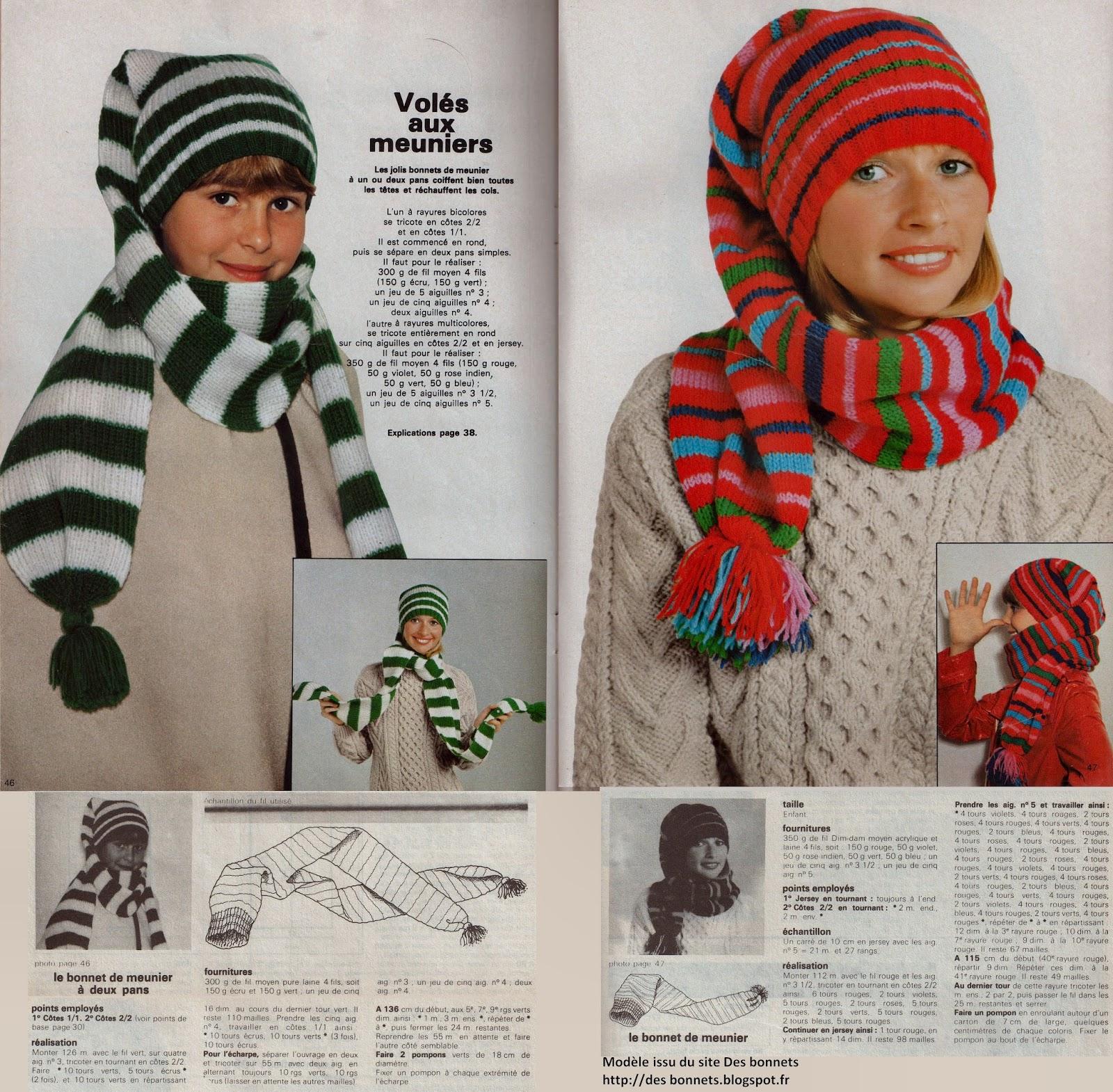 modele tricot bonnet meunier