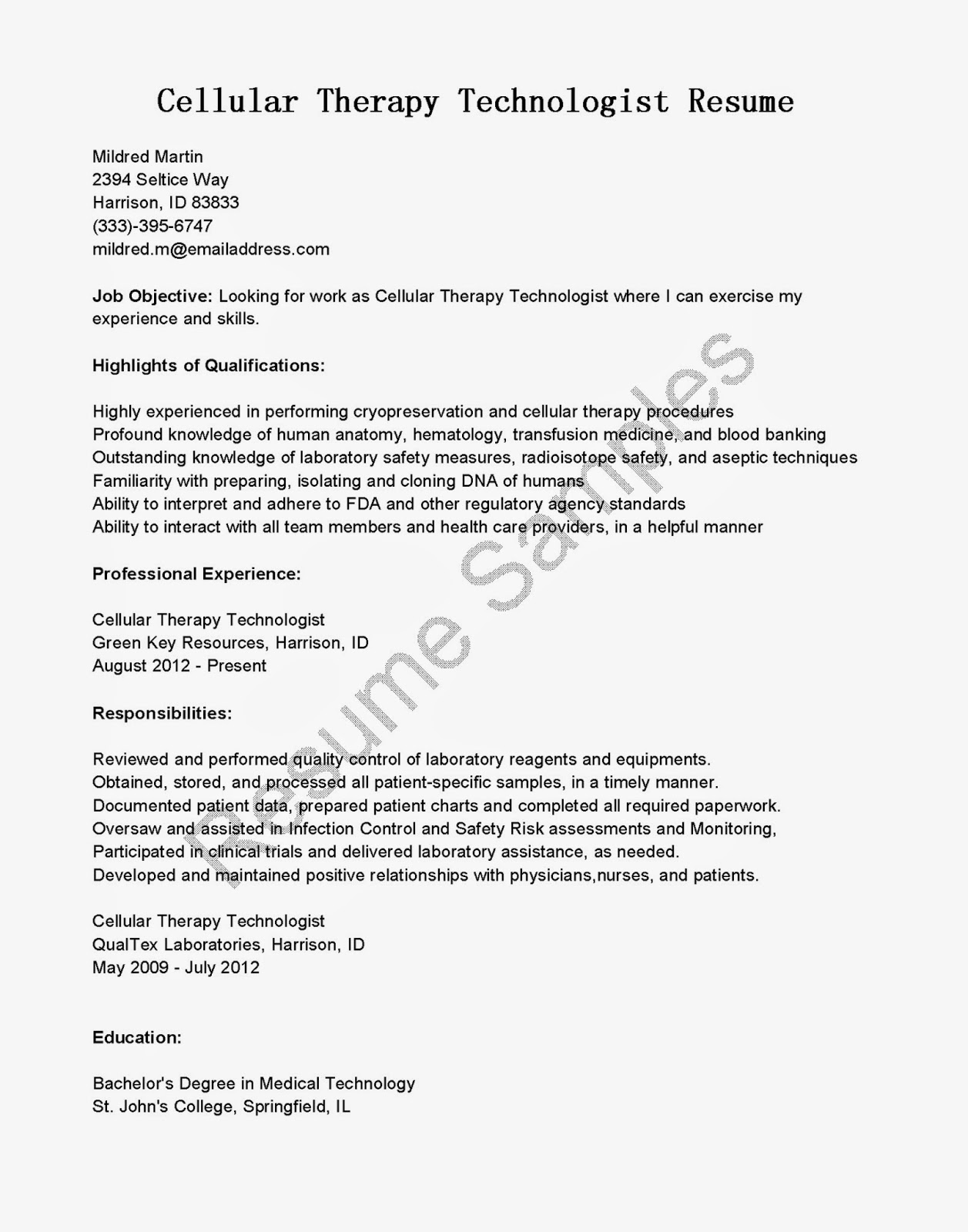 resume samples  cellular therapy technologist resume sample