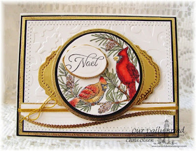 Our Daily Bread Designs, Cardinal Ornament, Circle Ornament die, Matting Circles DieLeafy Edged Border die, Elegant Ovals, Vintage Labels, Created by Chris Olsen