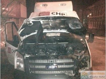 Kobani bahanesiyle CHP minibüsü ateşe verildi!