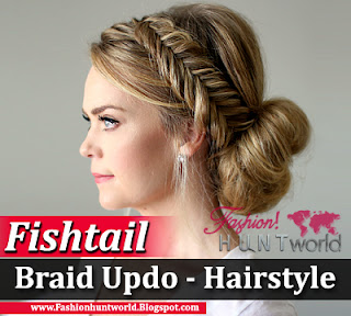 Fishtail Braid Updo Hairstyle Tutorial, Step By Step