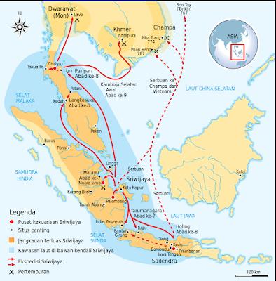 Jangkauan terluas Kemaharajaan Sriwijaya sekitar abad ke-8 Masehi.
