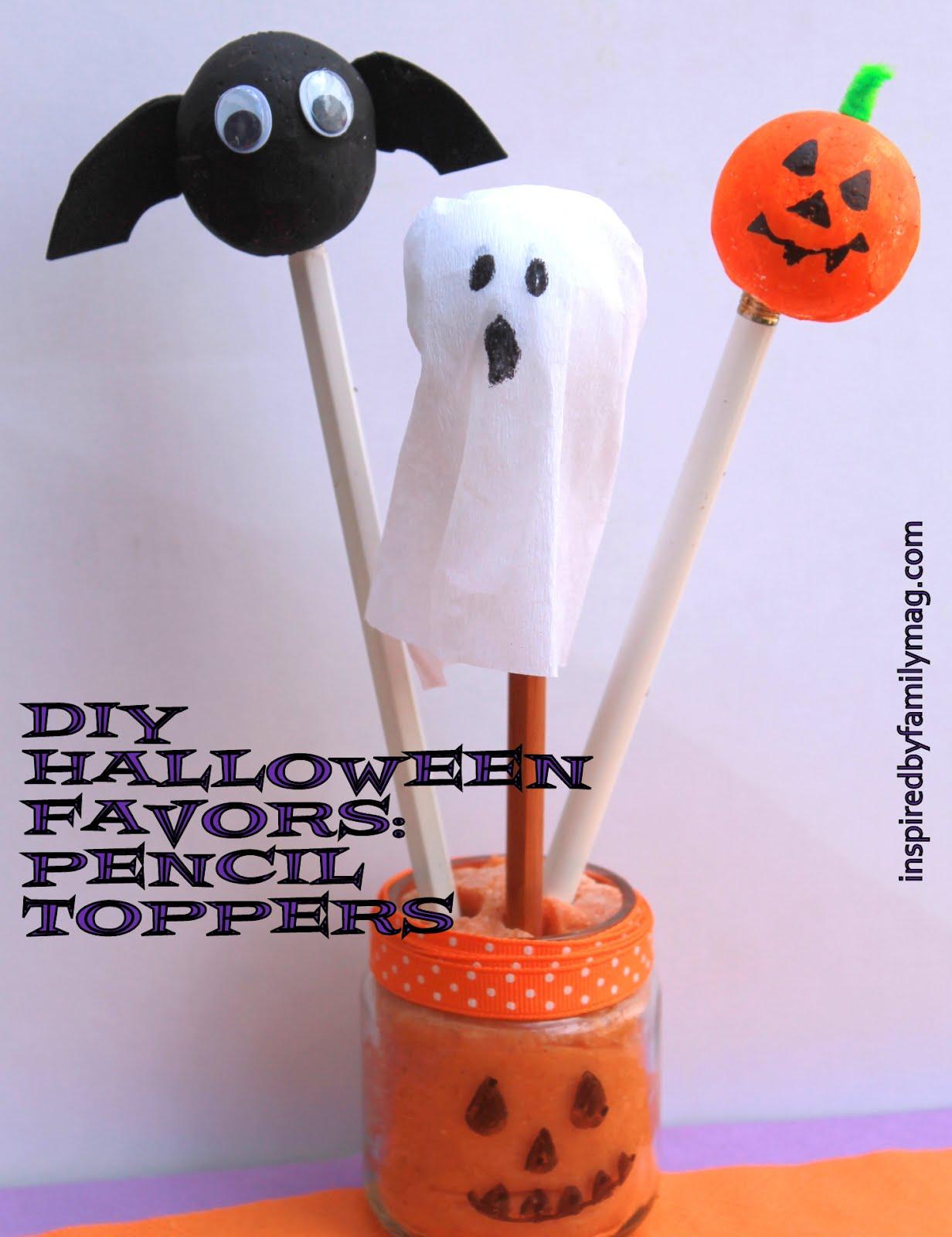 diy halloween favors pumpkin bat ghost pencil toppers - Diy Halloween Favors