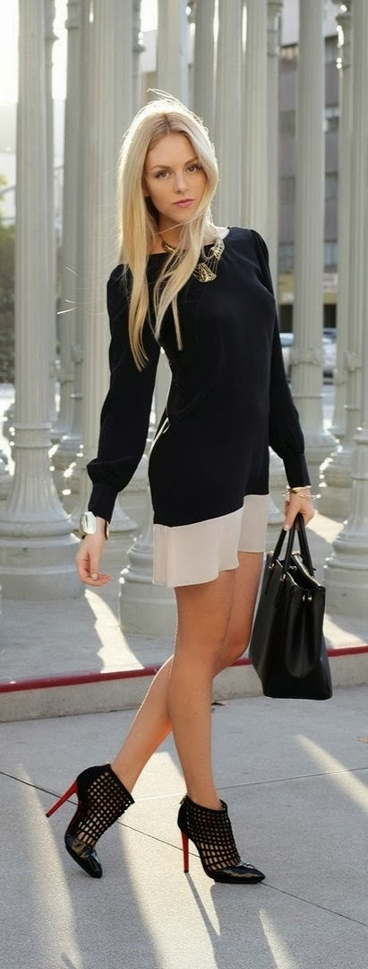 Black dress with leather handbag