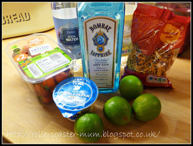 ingredients for Strawberry Gin Smash