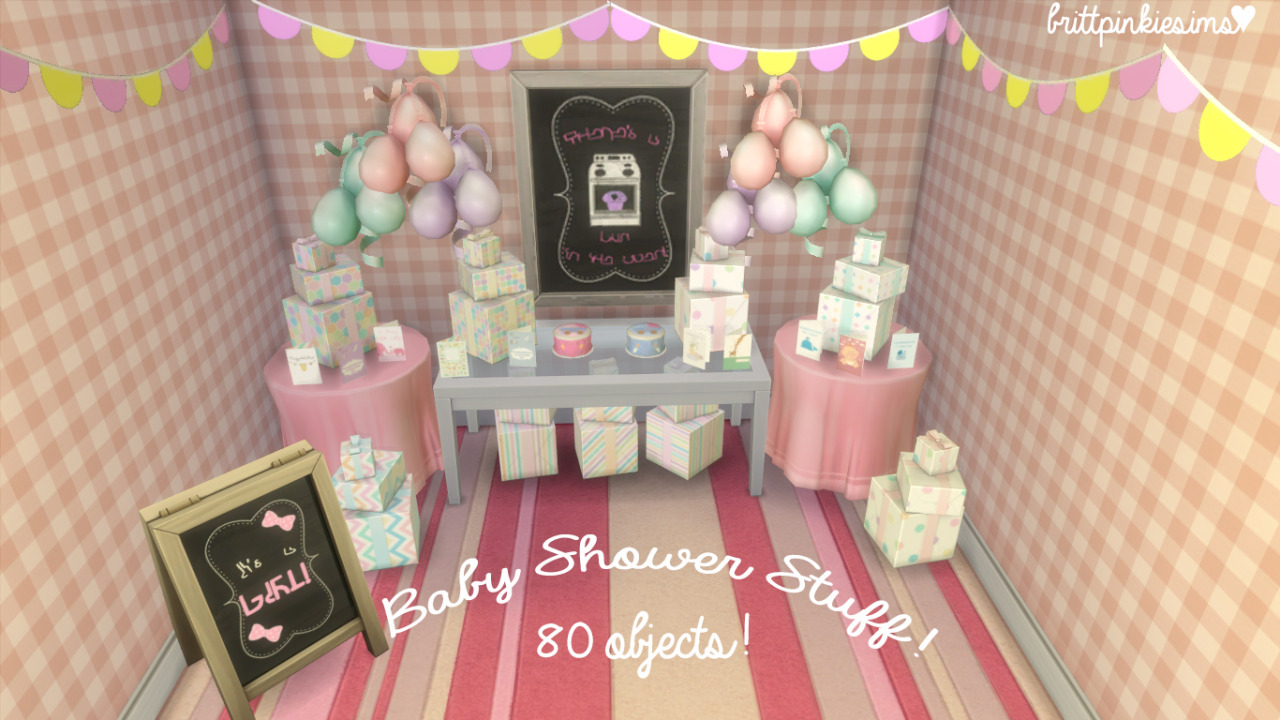 Baby Shower Sims 4 ~ My sims baby shower set by brittpinkiesims