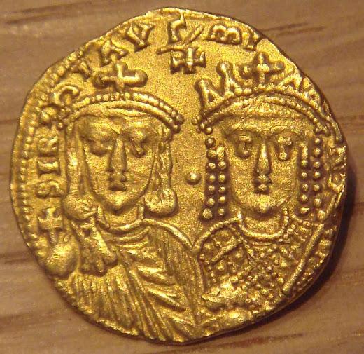 Constantino VI e sua mãe Irene. Moeda de ouro, anos 780-790.
