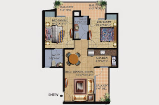 Livingston :: Floor Plans,Block A:-2 BHK (Type A2)2 Bedroom, 2 Toilet, Kitchen, Dining, Drawing, 2 Balconies Super Area - 1000 Sq Ft