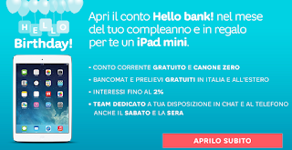 Hello Bank! regala un iPad Mini Retina da 16Gb