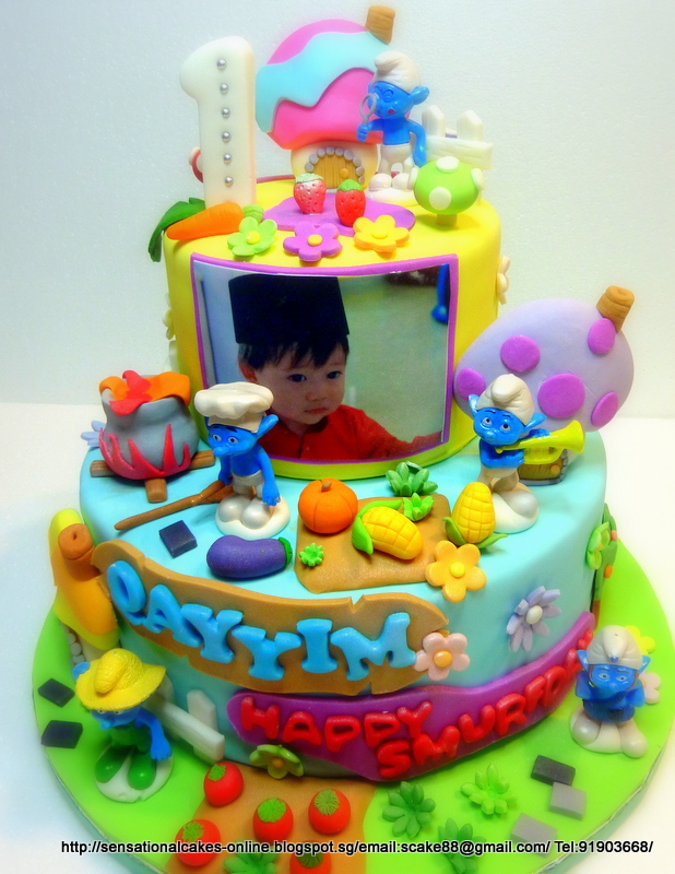 SMURF 2 TIER CAKE 1ST BIRTHDAY