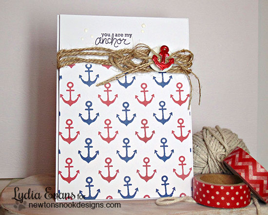 Anchor Nautical Card by Lydia Evans | Message in a Bottle Stamp set by Newton's Nook Designs