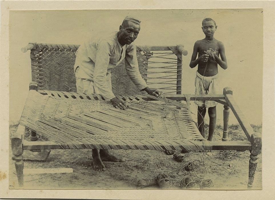 Indian Man Making A Bed c1900s