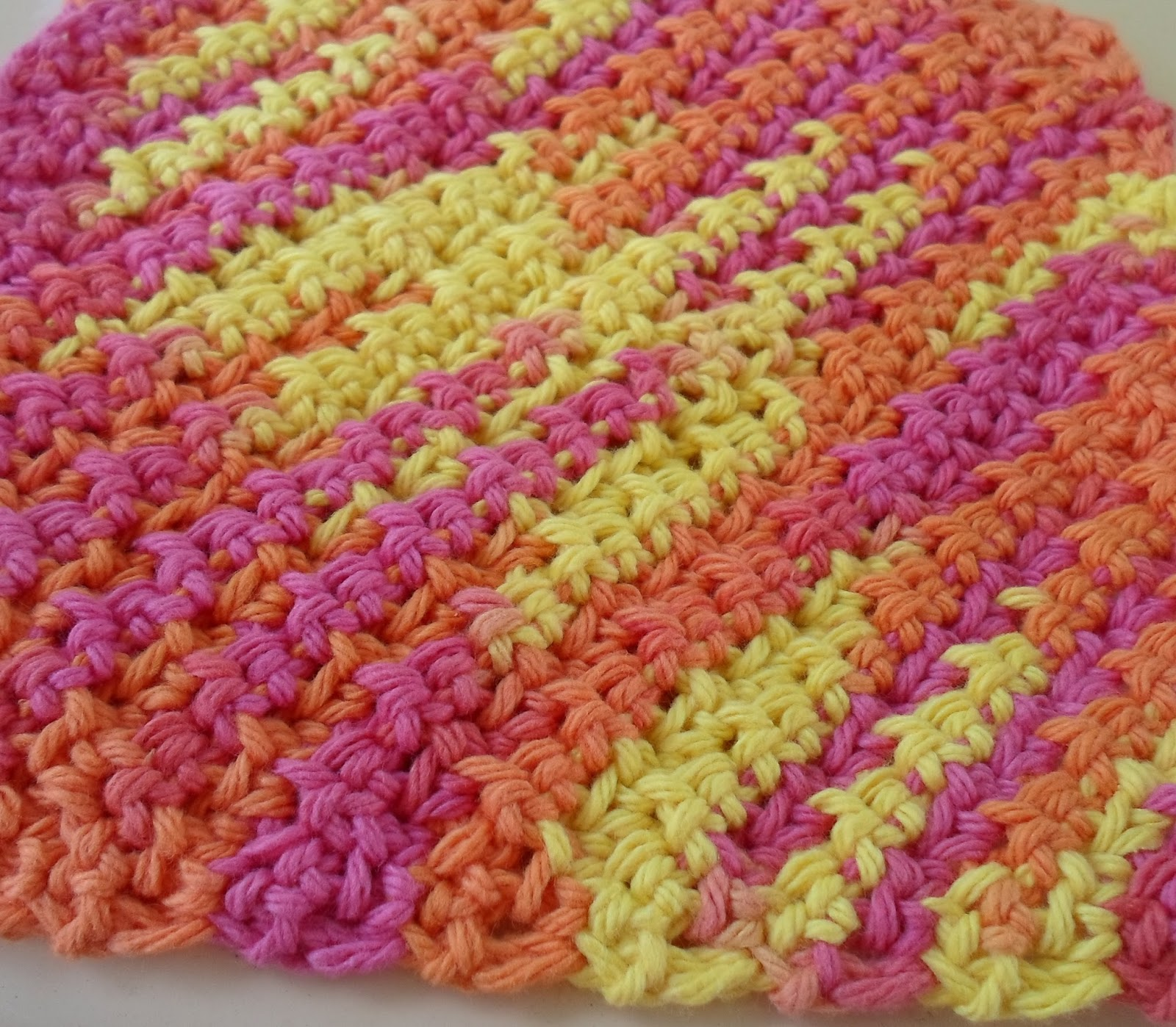 Crocheting Dish Rags : Happier Than A Pig In Mud: 50 Minute Textured Dish Cloth-Crochet