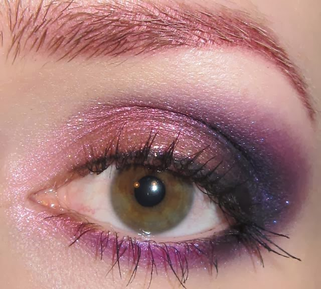 glitter is my crack pink red and purple eye makeup look