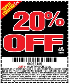 Harbor freight limit one coupon per customer per day