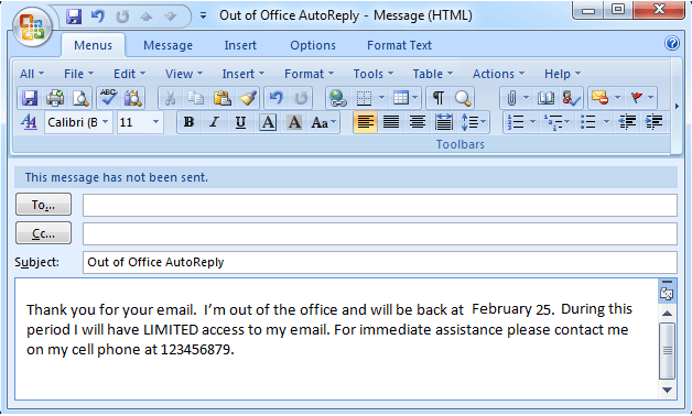 How to Set Out of Office (Auto Reply) in Outlook 2003, 2007, 2010 ...