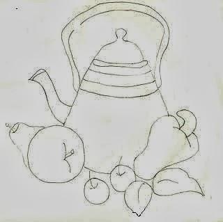 desenho de bule com pera, caju e cerejas