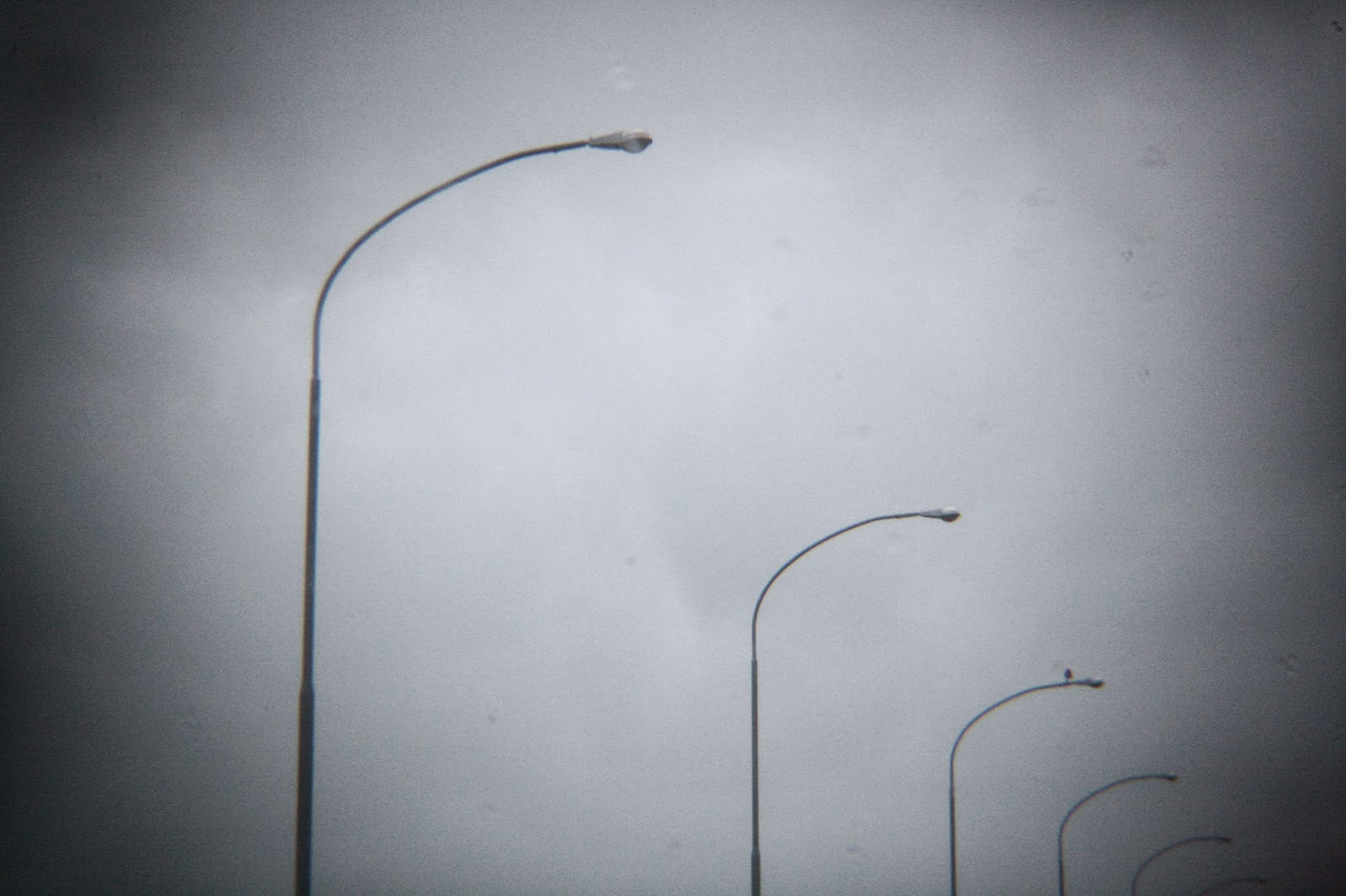 Grey skies and lamp posts.