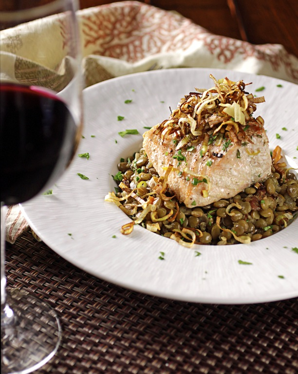 ... : Olive Oil-Poached Salmon with Lentils, Bacon and Crispy Fried Leeks
