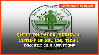 SSC CGL 9 August 2015 Evening Shift