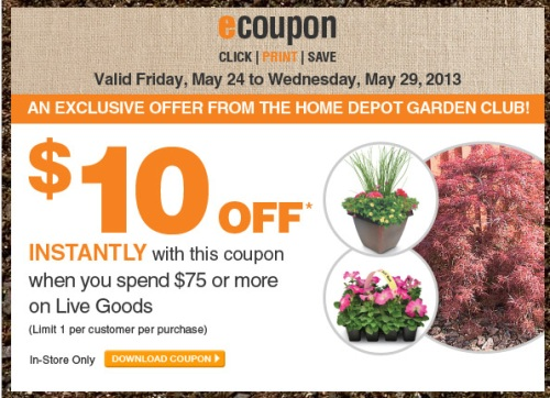 Canadian Daily Deals Home Depot Garden Club 10 Off 75