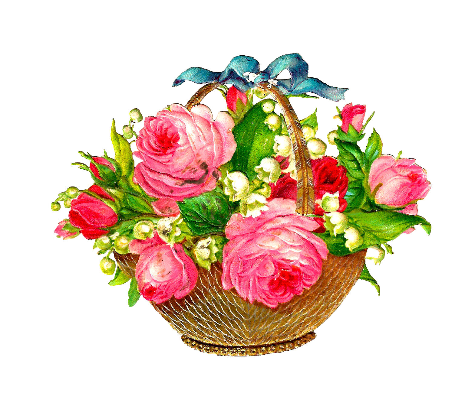 Antique Free Flower Basket Graphic Pink Roses and Lily of the Valley