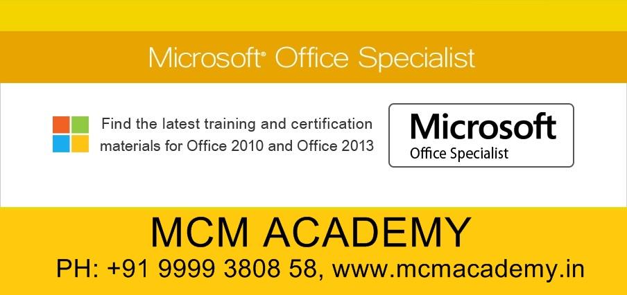 Microsoft Office Specialist Certification Mos Certification Delhi