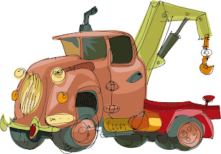 手書きのオモチャのレッカー車 hand-painted cartoon toys cranes cars