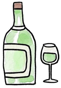 白ワインのイラスト「ボトルとグラス」