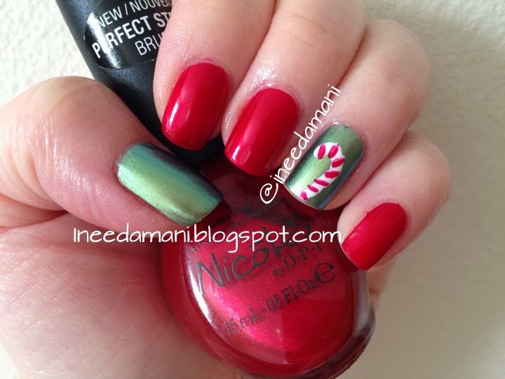 candy cane nail art nicole opi berry sweet