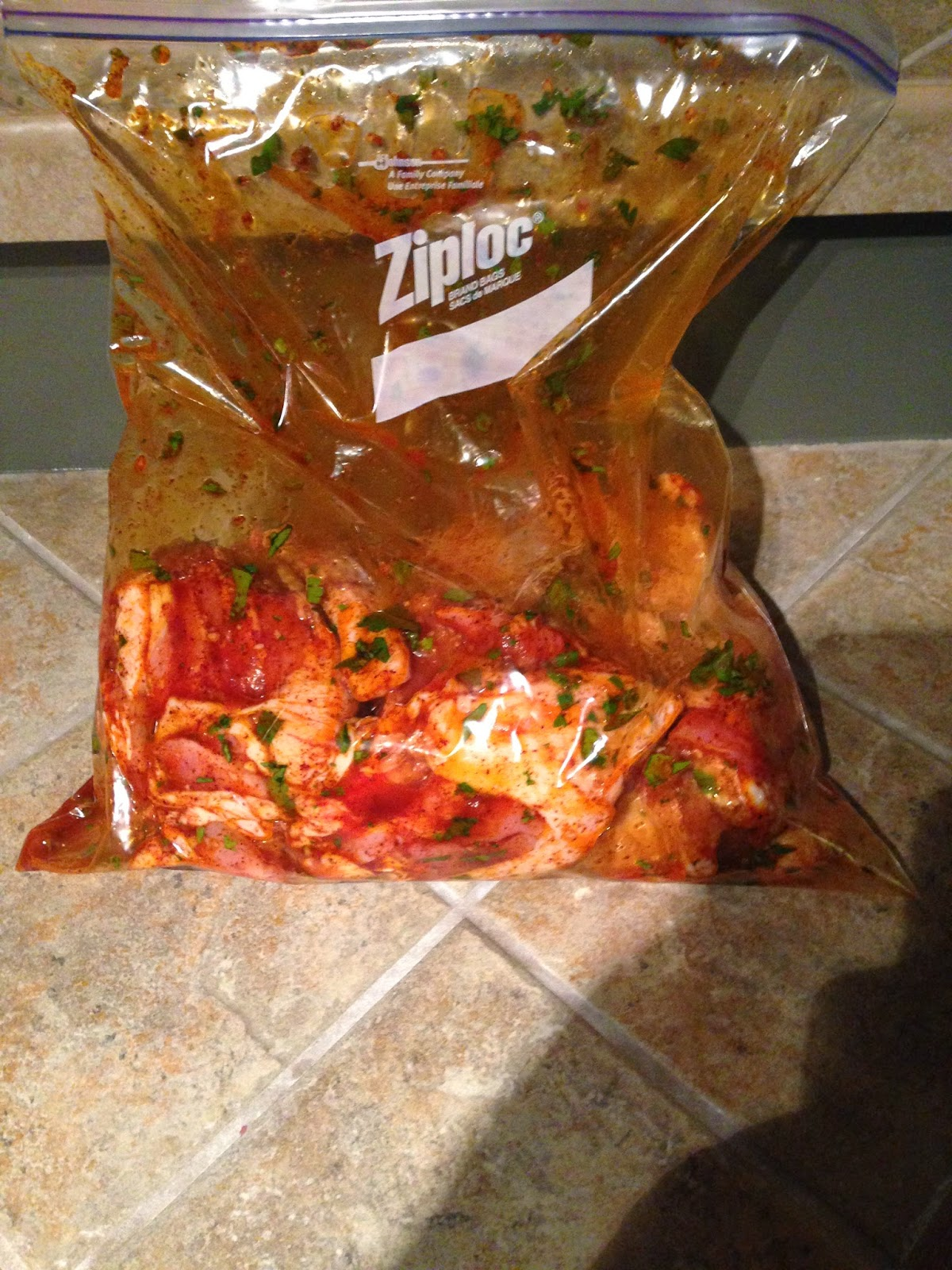... Ziploc & toss until the marinade is evenly distributed on the chicken