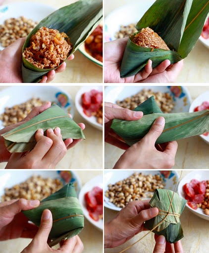 how to wrap zongzi bamboo leaves step by step