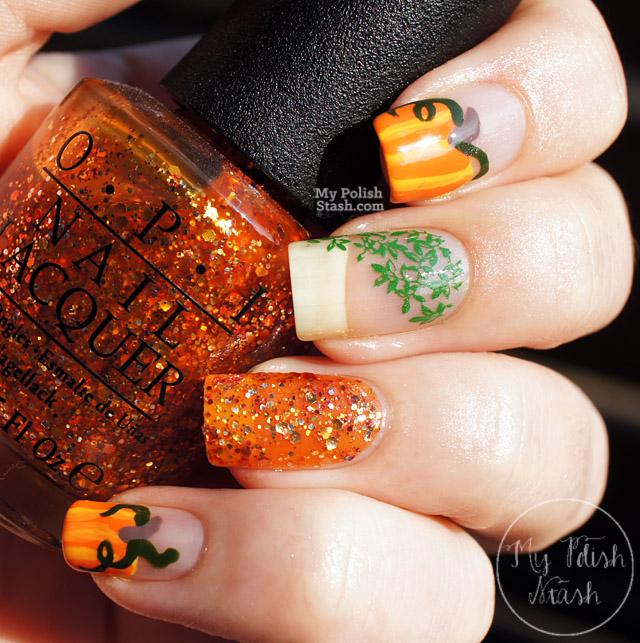 free hand pumpkin nail design