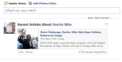 rubric is ;Recent articles about Doctor Who' article is about 'Denis Mukwege, Doctor Who Aided Victims...'