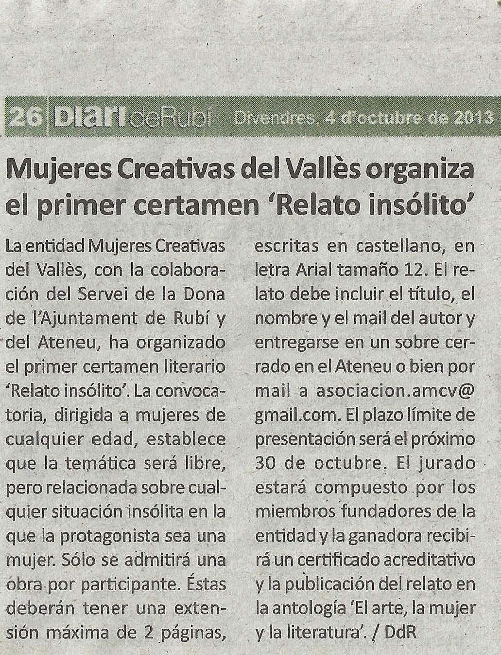 Noticia en el Diario de Rubí del Certamen de Relato Insólito