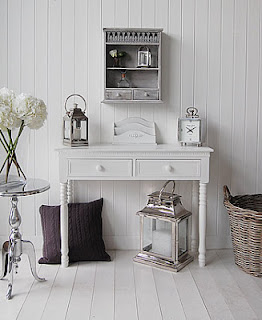 Console table with grey accessories