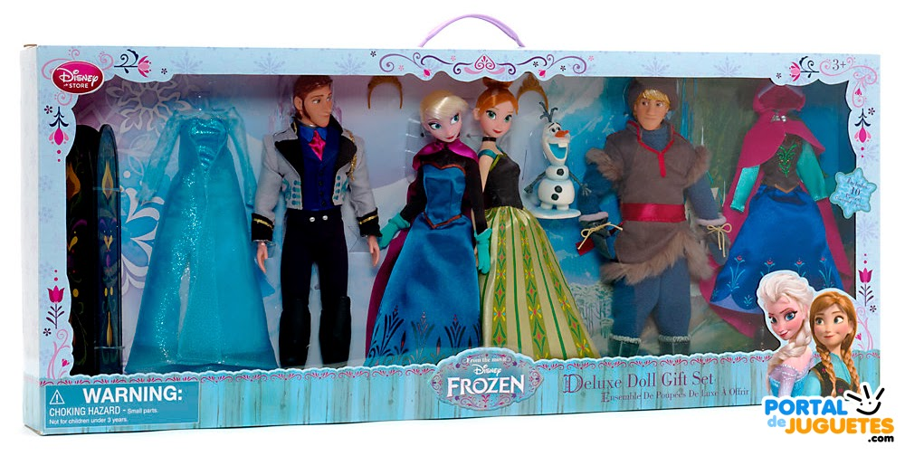 set personajes elsa anna kristoff hans olaf accesorios frozen disney store caja