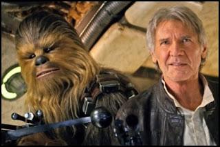 Peter Mayhew y Harrison Ford en El despertar de la Fuerza (2015)