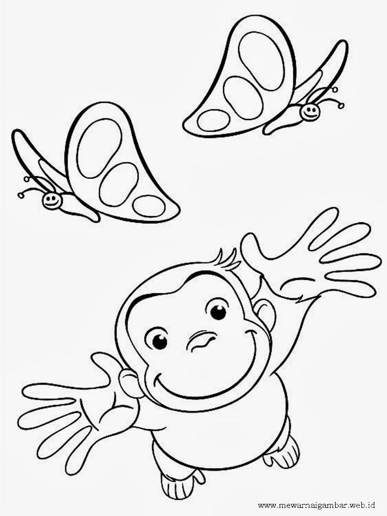 gambar mewarnai curious george menangkap kupu-kupu