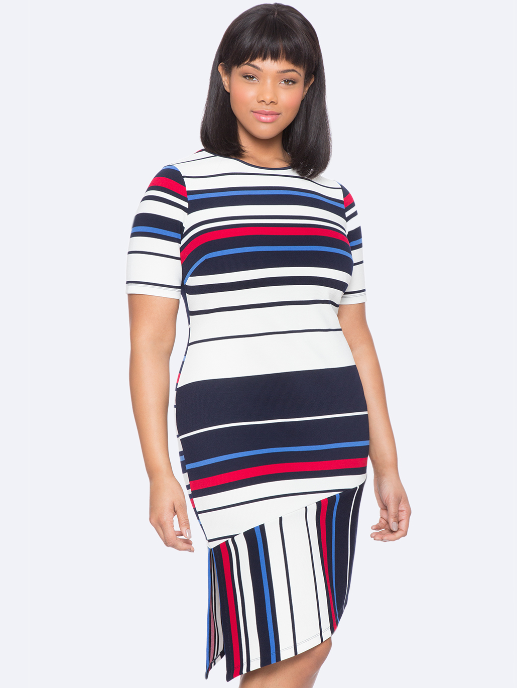 Plus Size Eloquii Opposing Striped Hem Dress
