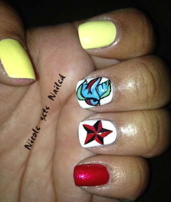 Old School Swallow Star Nails