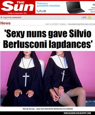 """Il titolo del Sun: """"Sexy-suore fanno la lap dance per Silvio"""""""