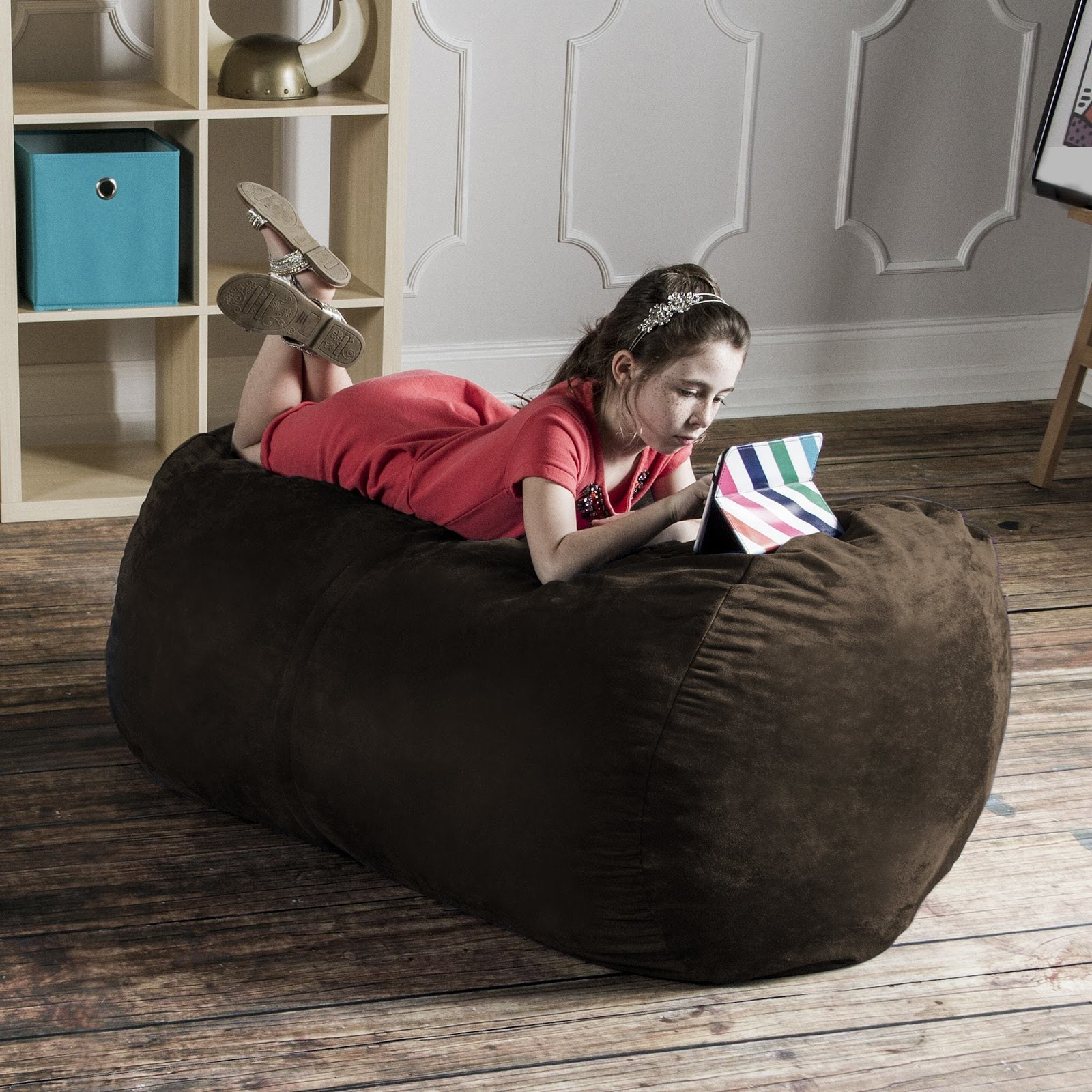 Chocolate Microsuede 4 Foot Jaxx Lounger. The Size Of This Bean Bag Chair  ...