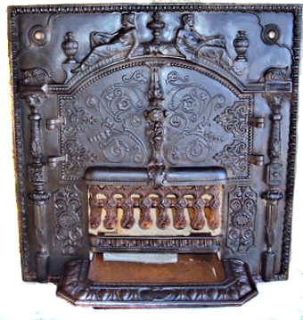 Rare Freanch Cast Iron Antique Fireplace For Sale